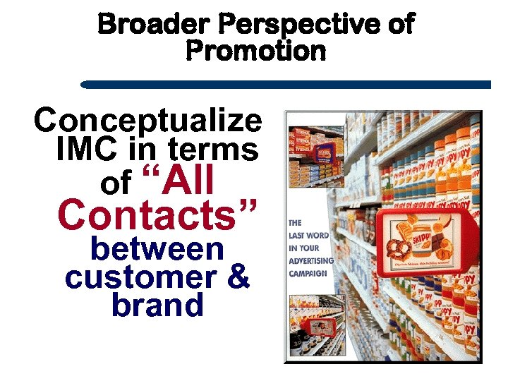 "Broader Perspective of Promotion Conceptualize IMC in terms of ""All Contacts"" between customer &"