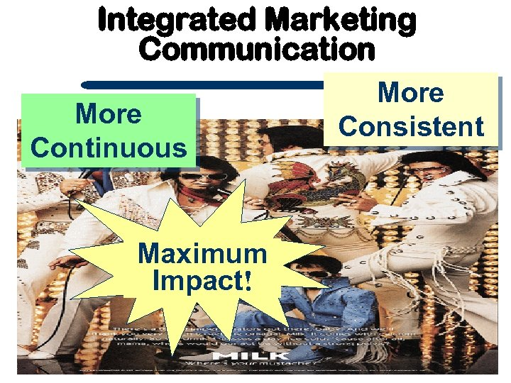 Integrated Marketing Communication More Continuous Maximum Impact! More Consistent
