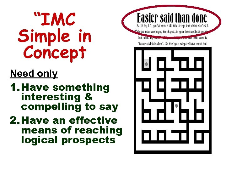 """IMC Simple in Concept Need only 1. Have something interesting & compelling to say"