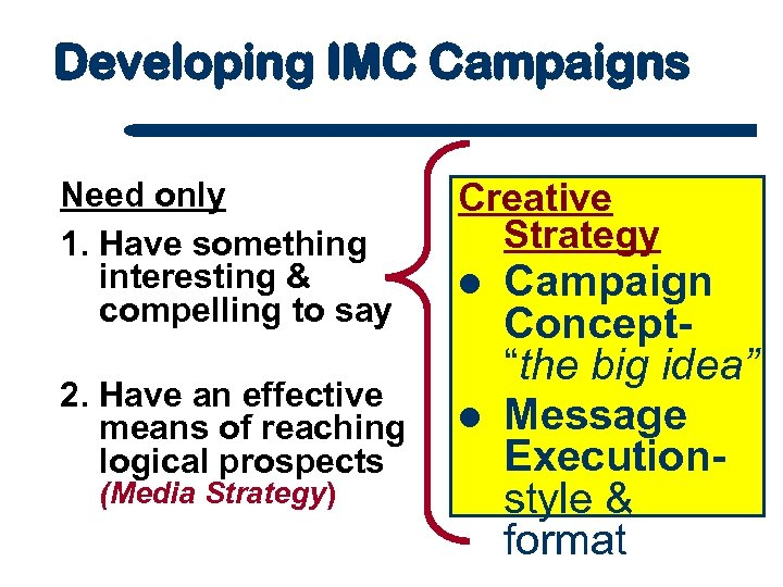 Developing IMC Campaigns Need only 1. Have something interesting & compelling to say 2.