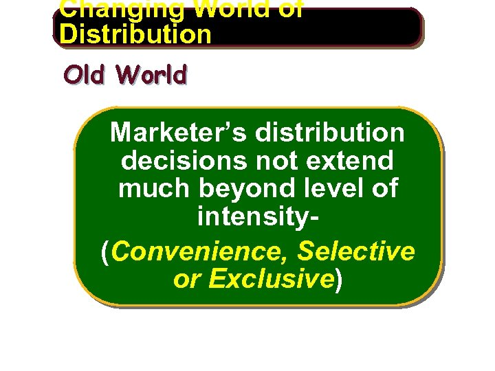 Changing World of Distribution Old World Marketer's distribution decisions not extend much beyond level