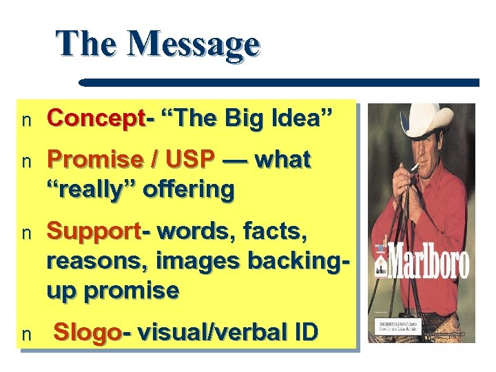 "The Message n Concept- ""The Big Idea"" n Promise / USP — what ""really"""
