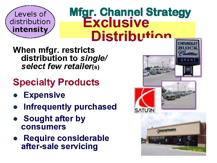 Levels of distribution intensity Mfgr. Channel Strategy Exclusive Distribution When mfgr. restricts distribution to
