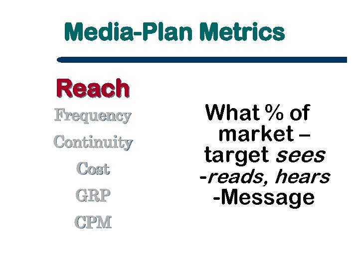 Media-Plan Metrics Reach Frequency Continuity Cost GRP CPM What % of market – target