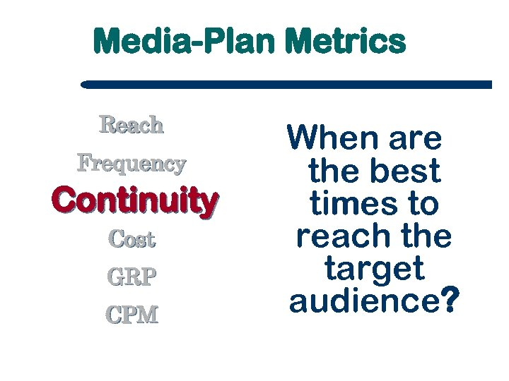 Media-Plan Metrics Reach Frequency Continuity Cost GRP CPM When are the best times to