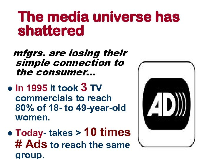 The media universe has shattered mfgrs. are losing their simple connection to the consumer.