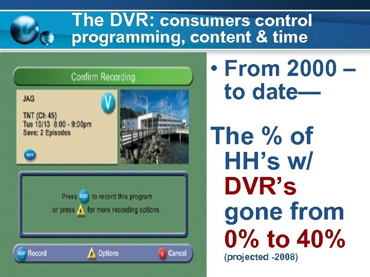 The DVR: consumers control programming, content & time • From 2000 – to date—
