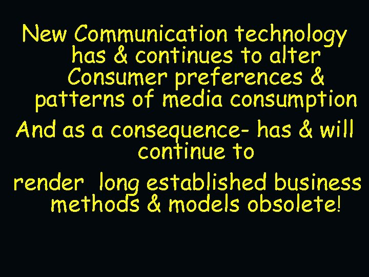 New Communication technology has & continues to alter Consumer preferences & patterns of media