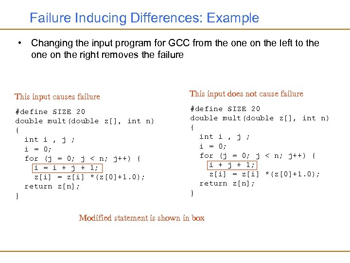 Failure Inducing Differences: Example • Changing the input program for GCC from the on