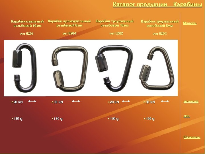 Каталог продукции Карабин овальный резьбовой 10 мм Карабин прямоугольный резьбовой 8 мм ver 0201