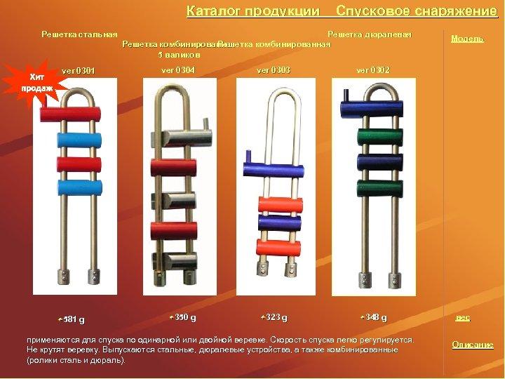 Каталог продукции Решетка стальная ver 0301 581 g Спусковое снаряжение Решетка дюралевая Решетка комбинированная