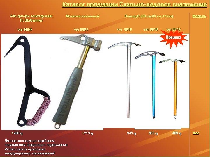 Каталог продукции Скально-ледовое снаряжение Айс фи-фи конструкции П. Шабалина Молоток скальный ver 0609 ver