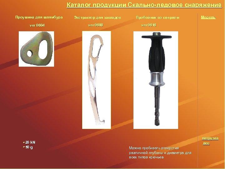 Каталог продукции Скально-ледовое снаряжение Проушина для шлямбура ver 0604 20 k. N 50 g