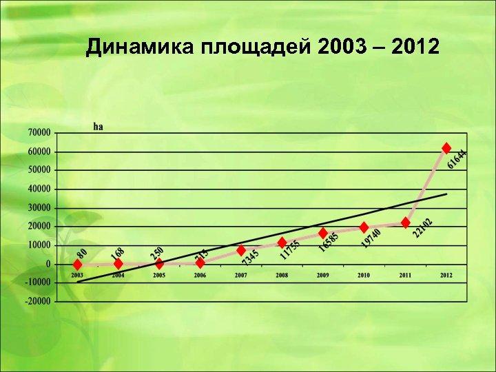 Динамика площадей 2003 – 2012