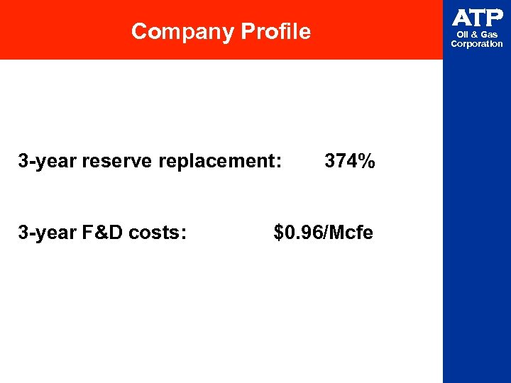 ATP Company Profile 3 -year reserve replacement: 3 -year F&D costs: Oil & Gas