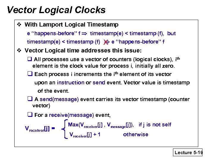 "Vector Logical Clocks v With Lamport Logical Timestamp e ""happens-before"" f timestamp(e) < timestamp"