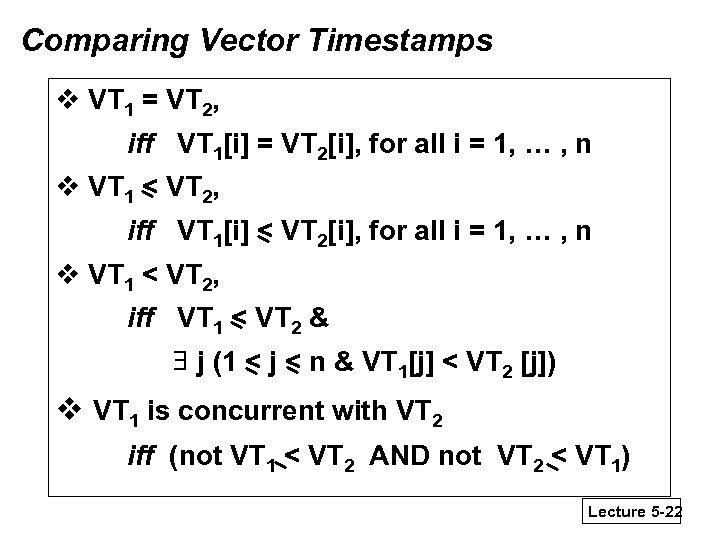 Comparing Vector Timestamps v VT 1 = VT 2, iff VT 1[i] = VT