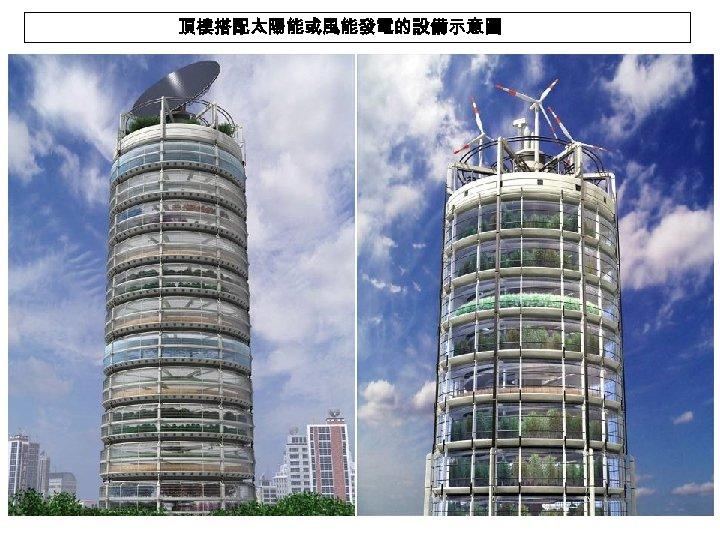 頂樓搭配太陽能或風能發電的設備示意圖