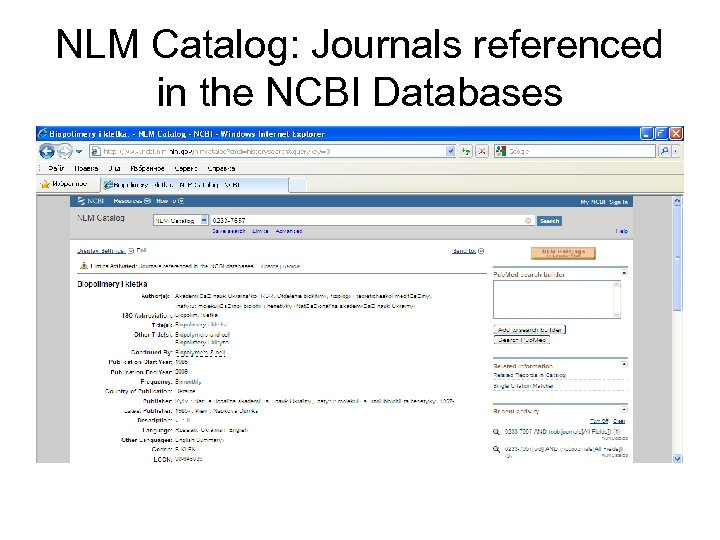 NLM Catalog: Journals referenced in the NCBI Databases