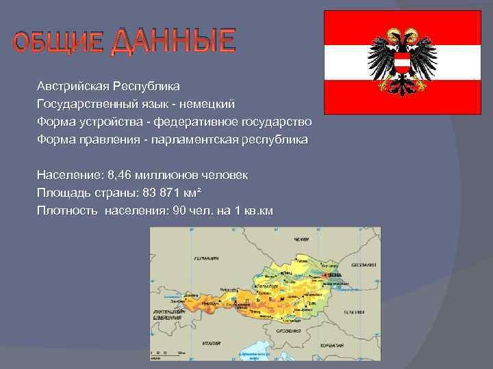 ОБЩИЕ ДАННЫЕ Австрийская Республика Государственный язык - немецкий Форма устройства - федеративное государство Форма