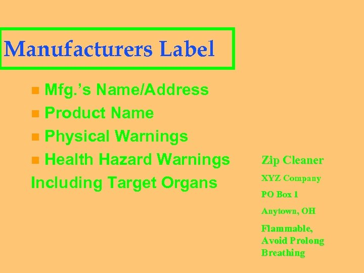 Manufacturers Label Mfg. 's Name/Address n Product Name n Physical Warnings n Health Hazard
