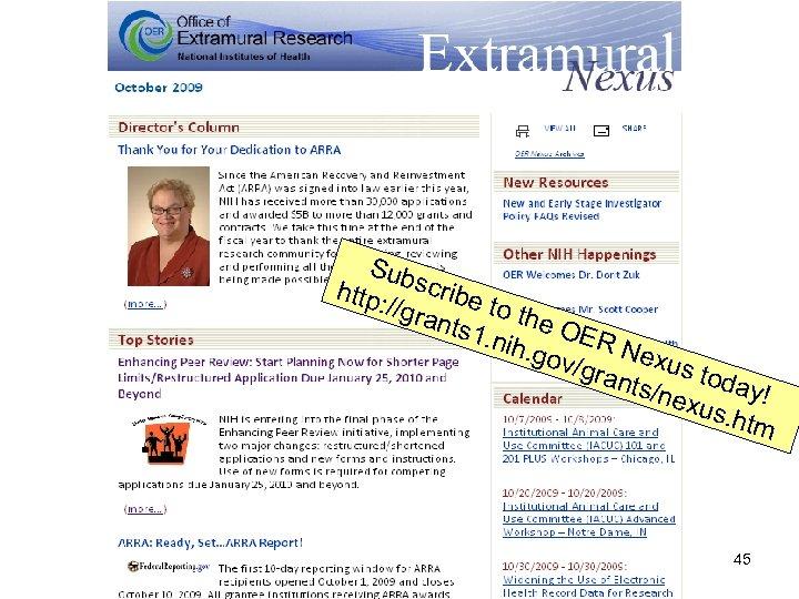 Sub http scribe : //gr ants to the O 1. nih ER Nex. gov