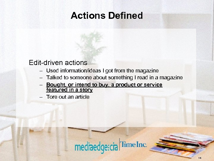 Actions Defined Edit-driven actions – Used information/ideas I got from the magazine – Talked