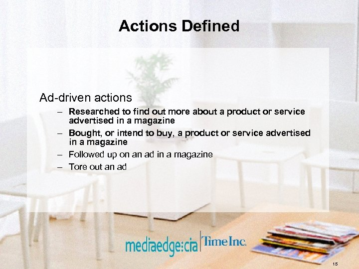 Actions Defined Ad-driven actions – Researched to find out more about a product or
