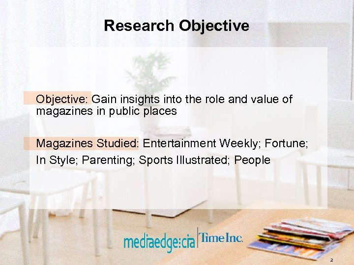 Research Objective: Gain insights into the role and value of magazines in public places