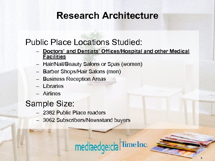 Research Architecture Public Place Locations Studied: – Doctors' and Dentists' Offices/Hospital and other Medical