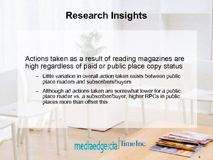 Research Insights Actions taken as a result of reading magazines are high regardless of