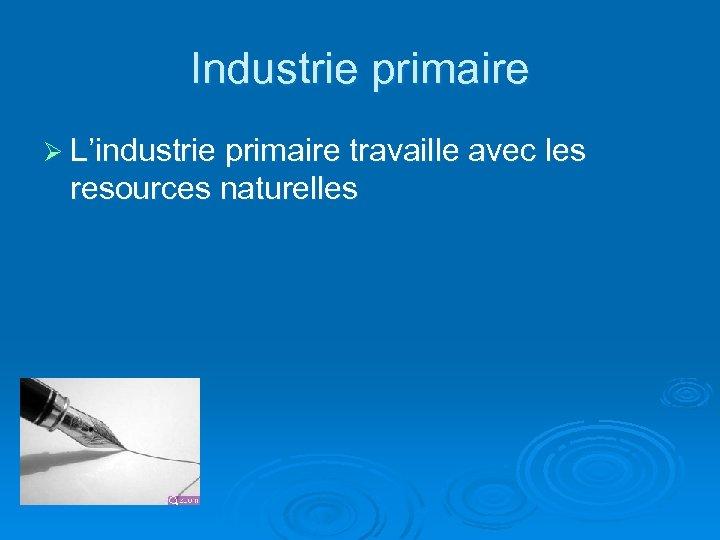 Industrie primaire Ø L'industrie primaire travaille avec les resources naturelles