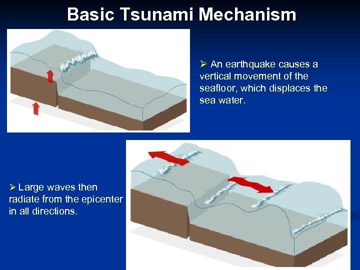 Basic Tsunami Mechanism Ø An earthquake causes a vertical movement of the seafloor, which