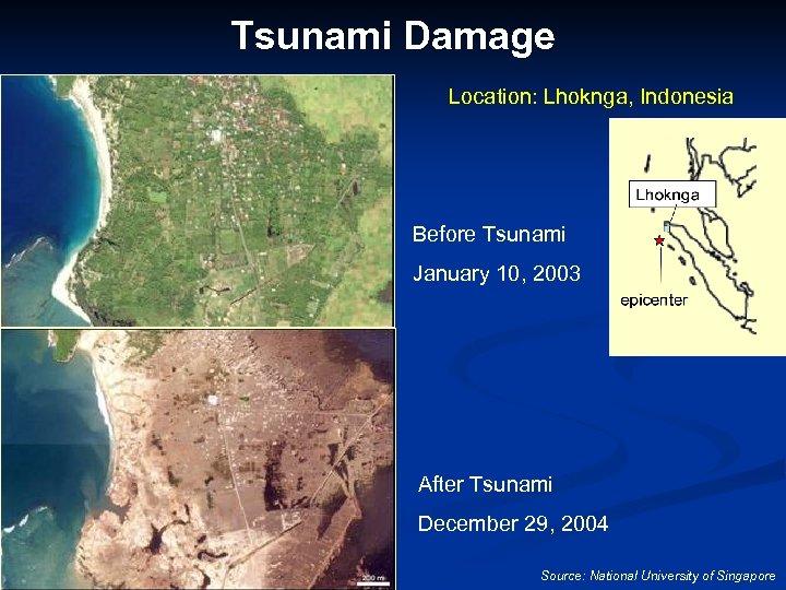 Tsunami Damage Location: Lhoknga, Indonesia Before Tsunami January 10, 2003 After Tsunami December 29,