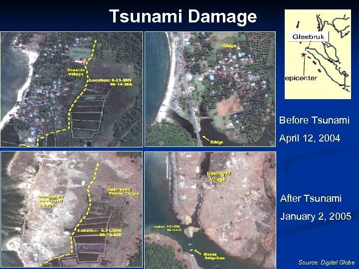 Tsunami Damage Before Tsunami April 12, 2004 After Tsunami January 2, 2005 Source: Digital