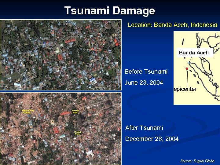 Tsunami Damage Location: Banda Aceh, Indonesia Before Tsunami June 23, 2004 After Tsunami December