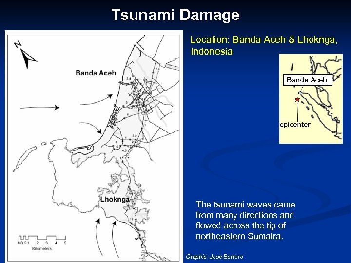 Tsunami Damage Location: Banda Aceh & Lhoknga, Indonesia The tsunami waves came from many