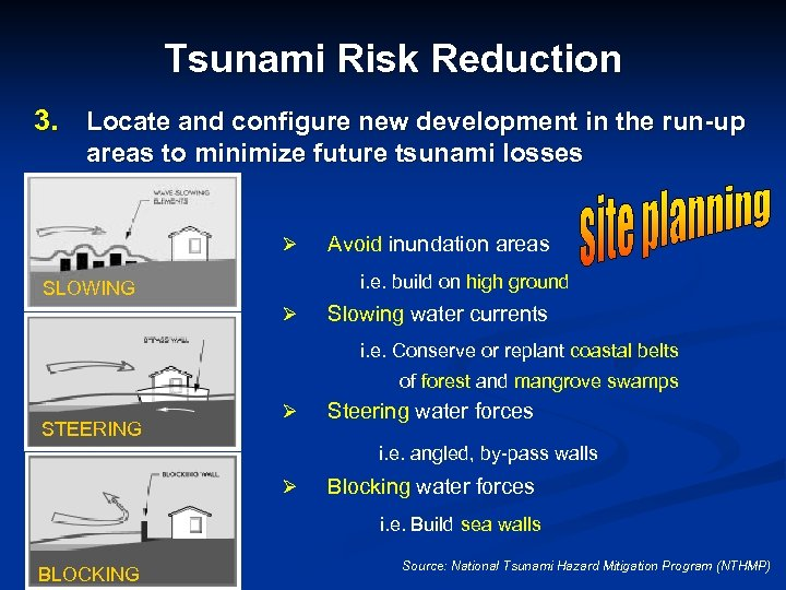 Tsunami Risk Reduction 3. Locate and configure new development in the run-up areas to