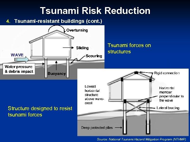 Tsunami Risk Reduction 4. Tsunami-resistant buildings (cont. ) Tsunami forces on structures Structure designed