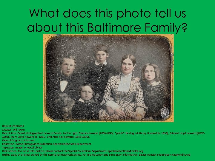 What does this photo tell us about this Baltimore Family? Item ID: CSPH 067