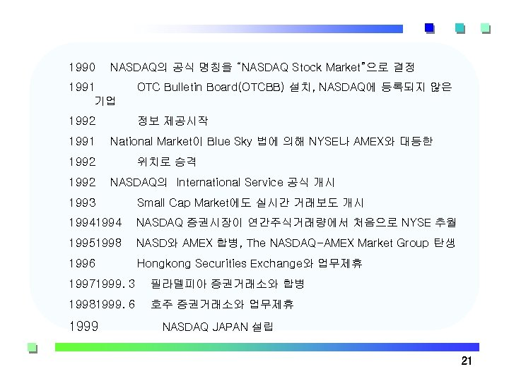 "1990 NASDAQ의 공식 명칭을 ""NASDAQ Stock Market""으로 결정 1991 기업 OTC Bulletin Board(OTCBB) 설치,"