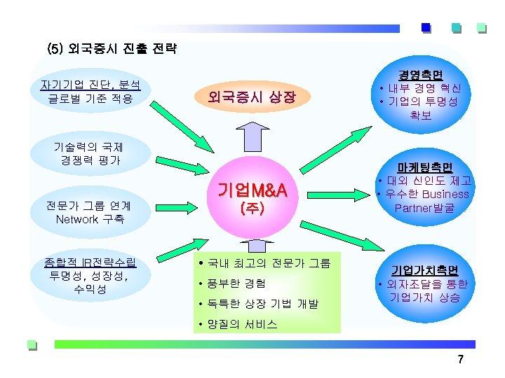 (5) 외국증시 진출 전략 자기기업 진단, 분석 글로벌 기준 적용 외국증시 상장 기술력의 국제