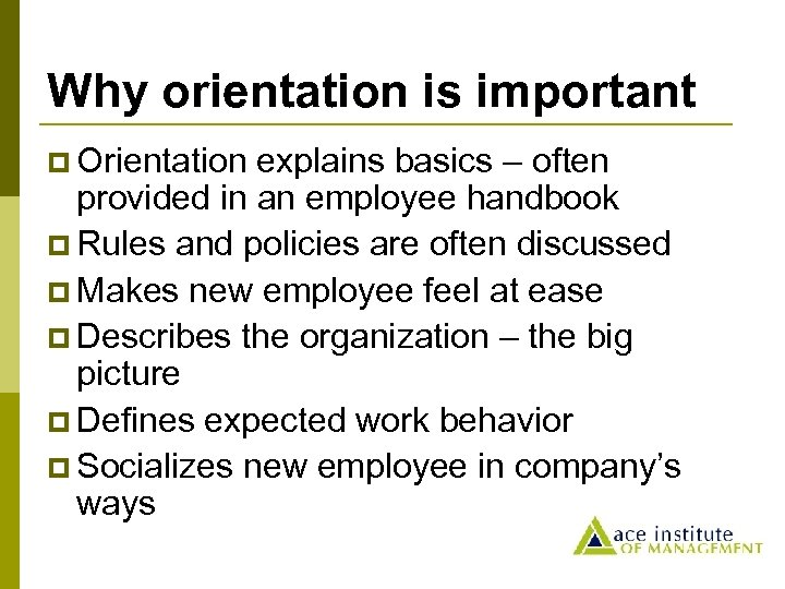 Why orientation is important p Orientation explains basics – often provided in an employee