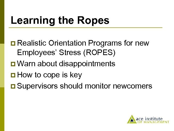 Learning the Ropes p Realistic Orientation Programs for new Employees' Stress (ROPES) p Warn