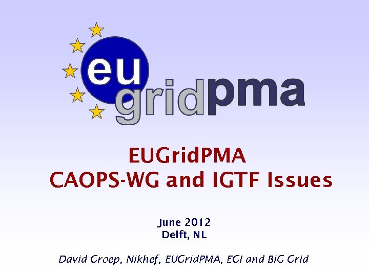 EUGrid. PMA CAOPS-WG and IGTF Issues June 2012 Delft, NL David Groep, Nikhef, EUGrid.