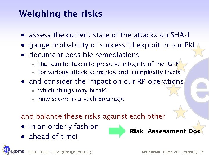 Weighing the risks · assess the current state of the attacks on SHA-1 ·