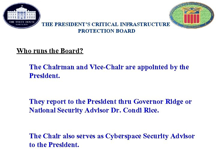 THE PRESIDENT'S CRITICAL INFRASTRUCTURE PROTECTION BOARD Who runs the Board? The Chairman and Vice-Chair