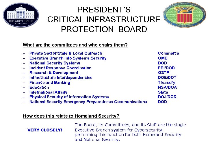 PRESIDENT'S CRITICAL INFRASTRUCTURE PROTECTION BOARD What are the committees and who chairs them? –