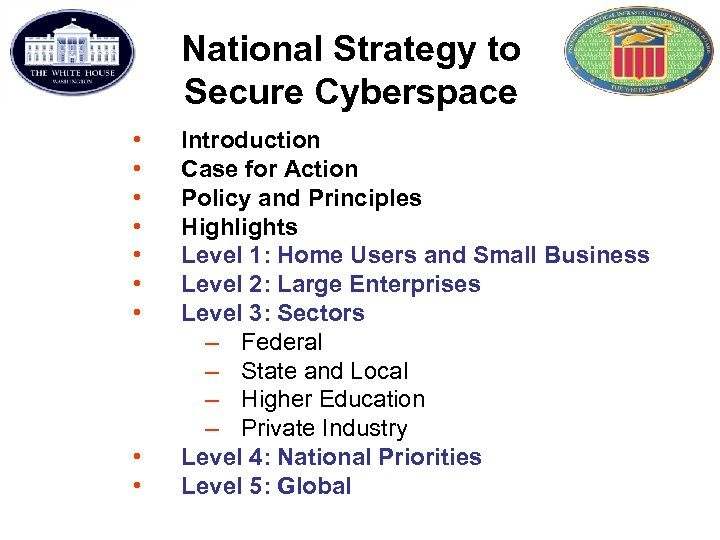 National Strategy to Secure Cyberspace • • • Introduction Case for Action Policy and