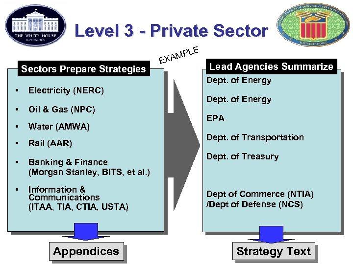 Level 3 - Private Sector E Sectors Prepare Strategies E PL XAM Lead Agencies